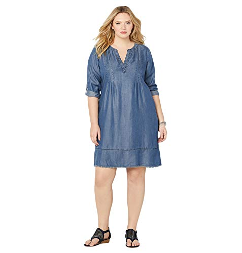 (Avenue Women's Denim A-line Dress, 18/20 Medium Wash)