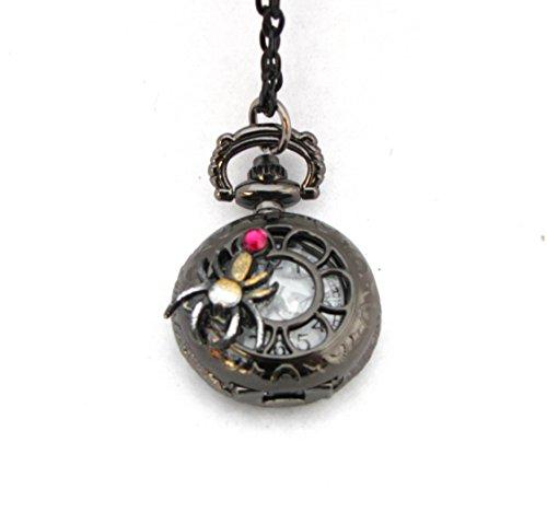 Steampunk Spider Mini Pocket Watch Necklace Black Widow