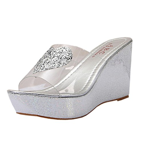 DDLBiz Women Fashion Summer Rhinestones Wedge Clear Flip Flops Slippers Shoes (US:5.5, Silver) - Clear Wedge