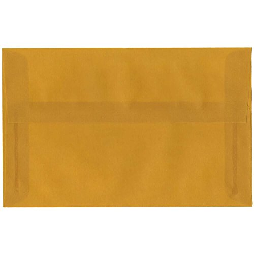 (JAM PAPER A10 Translucent Vellum Invitation Envelopes - 6 x 9 1/2 - Ochre Gold - 25/Pack)