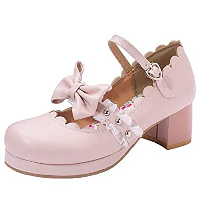 Melady Women Sweet Bow Shoes Ankle Strap Pumps Block Heels Round Toe Cosplay Performance Shoes Mini Size Lace Pink Size 32