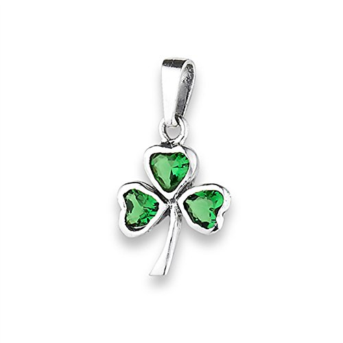 ant Simulated Emerald .925 Sterling Silver Good Luck Charm (Shamrock Pendant)