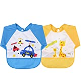 Cute Cartoon Unisex Infant Toddler Baby Waterproof Sleeved Bib, Baby Toddler Smock (6 Months-3 Years) (Blue+yellow)