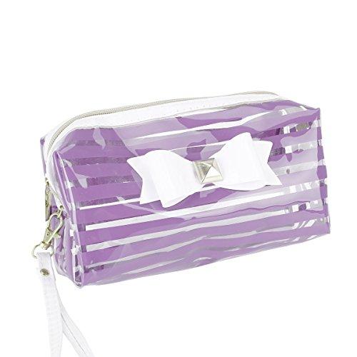 TININNA PVC Bandoulière Floral Rayure Sac Claire Papillon Violet Rouge Femme à Multipurpose étanche Rose Transparent Comestique Sac à Main 8BI0r8wqx
