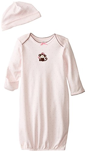 (Little Me Baby Girls' Gown and Hat Set, Light Pink Monkey 0-3)
