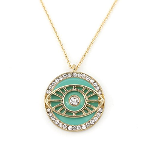 Exquisite Bright Gold Tone Full Crystal Green Pendant Necklace]()