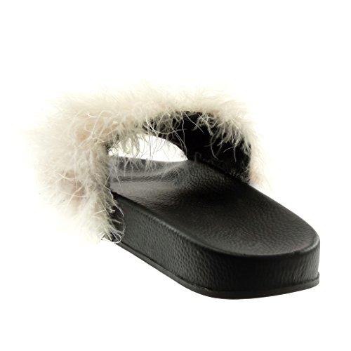 Angkorly Damen Schuhe Sandalen - Slip-On - Feder Flache Ferse 2.5 cm Hellrosa