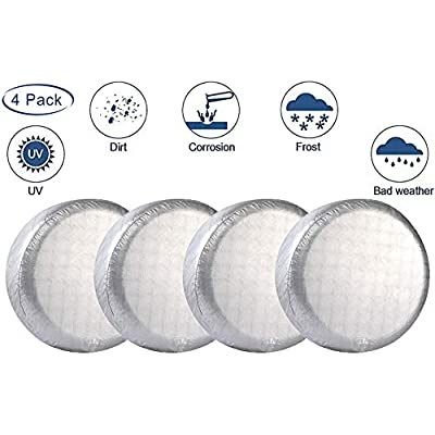 "LIHNG Tire Covers for Trailer, SUV, Van, Auto, Camper,Set of 4 Tire Covers Waterproof UV Coating ProtectionTire Protectors,Universal Fits 26"" to 29"" Tire Diameters (White): Automotive"