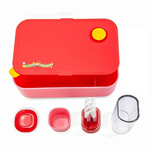 (Blue Ele BE04 Lunch Box for Kids Children with Spoon, Fork & Sauce pots, BPA Free Bento-Styled On-The-Go Meal and Snack Leak Free Packing Solution, 33.8oz, Red)
