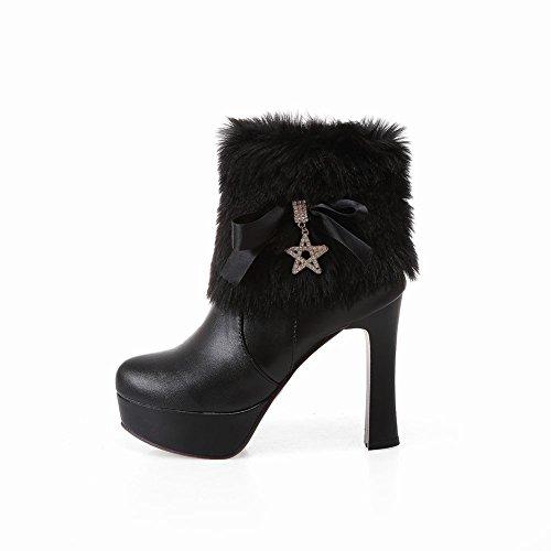Charm Foot Ladies Plataforma De Piel Sintética Botas De Nieve De Tacón Alto Negro