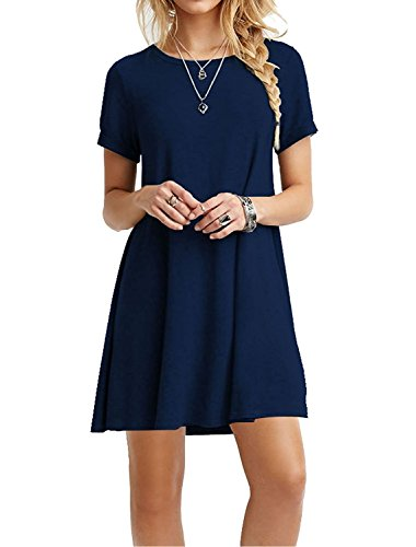 (TOPONSKY Women's Casual Plain Short Sleeve Simple T-shirt Loose Dress Navy Blue,Small,)