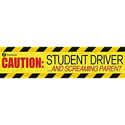 Zone Tech 1-Pack Caution Student Driver and Screaming Parent Funny Magnetic Bumper Sticker Sign for Student Driver - 12