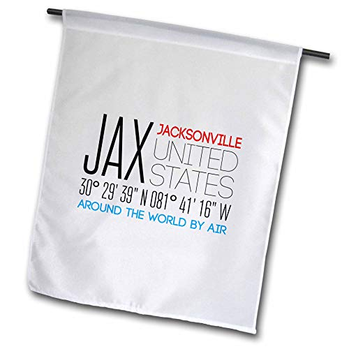 - 3dRose Alexis Design - Around The World by Air - Beautiful Text Jax, Jacksonville, United States, Location Coordinates - 12 x 18 inch Garden Flag (fl_311090_1)
