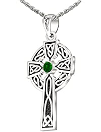 """Men's 0.925 Sterling Silver 1.5"""" Irish Celtic Knot Cross Pendant Necklace, 18"""" to 24"""""""