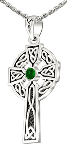 Men's 0.925 Sterling Silver Simulated Emerald 1.5