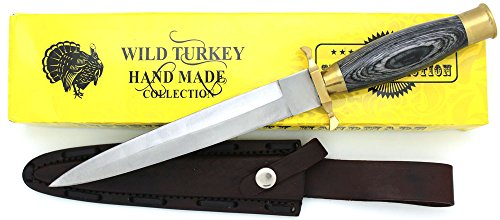 Wild Turkey Handmade Dagger Style Fixed Blade Hunting Knife w/Leather Sheath Hunting Camping Fishing Outdoors (Wood)