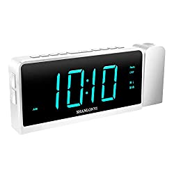 SHANLONYI Projection Alarm Clock Radio for Bedrooms LED Light Desk Digital Time Protector with Ceiling Large Display 7, USB Charging for Cell Phone, Battery Back up