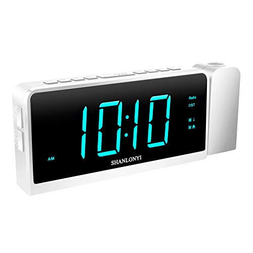 """(SHANLONYI Projection Alarm Clock Radio for Bedrooms LED Light Desk Digital Time Protector with Ceiling Large Display 7"""", USB Charging for Cell Phone, Battery Back up)"""
