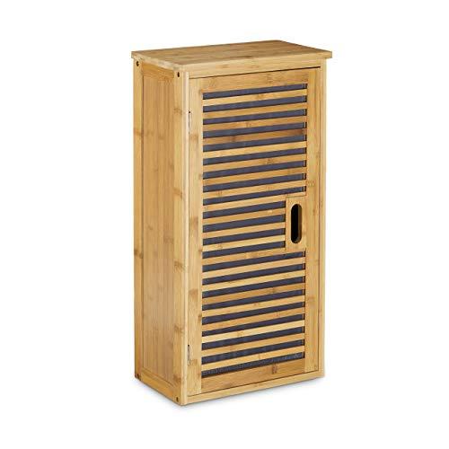 Relaxdays Badezimmer Hängeschrank aus Bambus, 2 Ablagen mit Einlegeboden, Badschrank HxBxT: 66 x 35 x 20 cm, natur