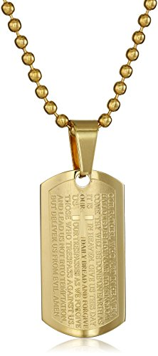 Stainless Steel Men's 18K Gold Plated Carved Cross and Lord's Prayer Mini Dog Tag Pendant Necklace