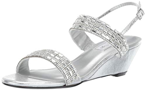 - Touch Ups Women's Allison Wedge Sandal, Silver, 10.5 M US