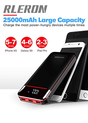 Power Bank 25000mAh Portable Charger Battery Pack with 3 Outputs & 2 Inputs