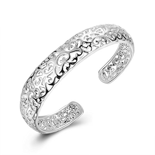 Silver Cuff Bracelet Bangle (LEECCO Women 925 Sterling Silver Fashion Open C-Shape Bracelets Cuff Bangle)