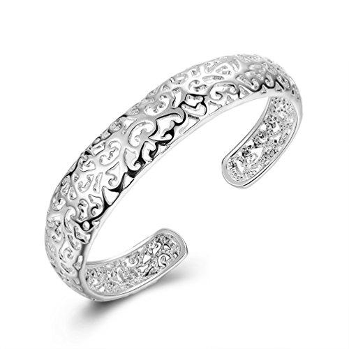 LEECCO Women 925 Sterling Silver Fashion Open C-Shape Bracelets Cuff Bangle