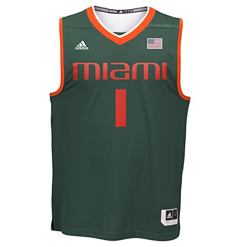 NCAA Miami Hurricanes Men's Basketball Replica Jersey, Large, Green ()
