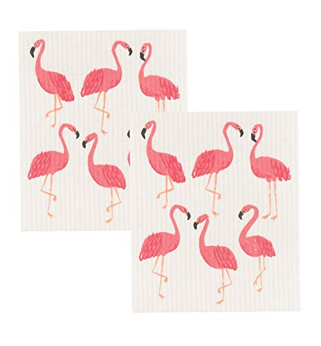 Now Designs Swedish Dishcloths, Set of 2, Flamingos - Dishcloth Set