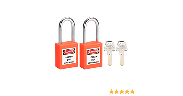 2PC Safety Lockout Tagout Keyed Different Padlock With 1.5/'/' Shackle Orange