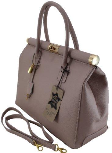 véritable cuir poignées Satchel Beige CTM Bag femme Made Antique élégante 35x28x16cm bandoulière Italy in Rose en wqAvOSfx
