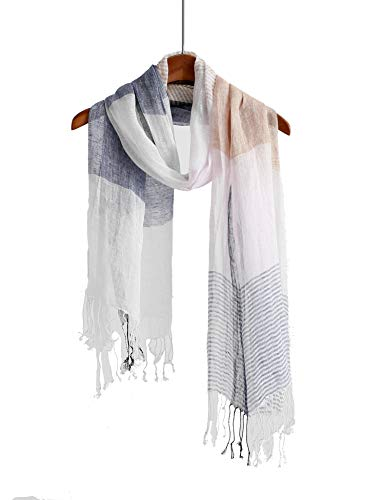 - WS Natural Scarf/Shawl/Wrap Linen Feel Scarves For Men And Women (Linen blue pink stripe)