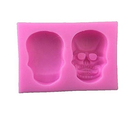 TYKusm - Molde de silicona con diseño de calavera en 3D para fondant, azúcar, arcilla y botón, molde para hornear tartas: Amazon.es: Hogar