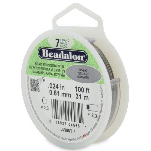 Beadalon 100-Feet 7-Strand Stainless Steel Bead Stringing Wire, 0.024-Inch, Bright (Bright Beadalon 7 Strand Beading)