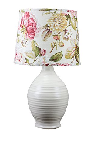AHS Lighting L2587IV-U3 Ridges Ceramic Table Lamp, Ivory Large Floral Shade