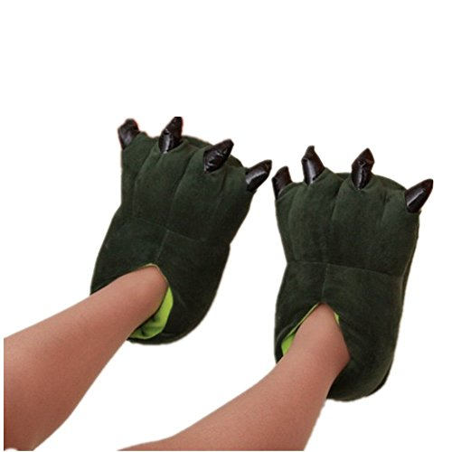 Neilshop Unisex Cozy Monster Slippers Halloween Animal Costume Paw Claw Shoes 5-8' Green Kids Children Size