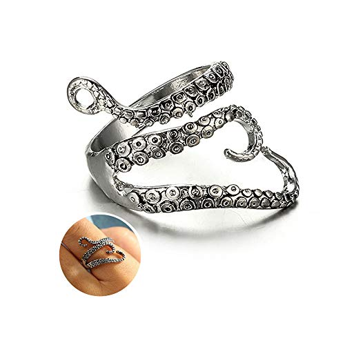 YOOE Punk Adjustable Octopus Tentacles Open Ring. Retro Silver Squid Tail Ring, Hip Hop Ocean Animal Finger Rings for Women Men Statement Ring (Style A)