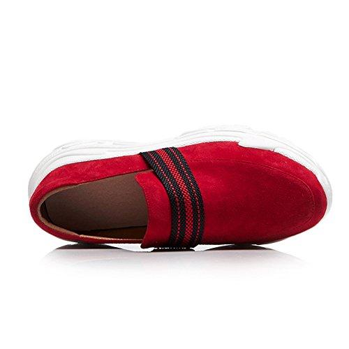 Zapatos KJJDE Gamuza Jane WSXY Red Zapatos Romano Q1420 Plataforma Estilo con Mujeres Mary AxpHqPA