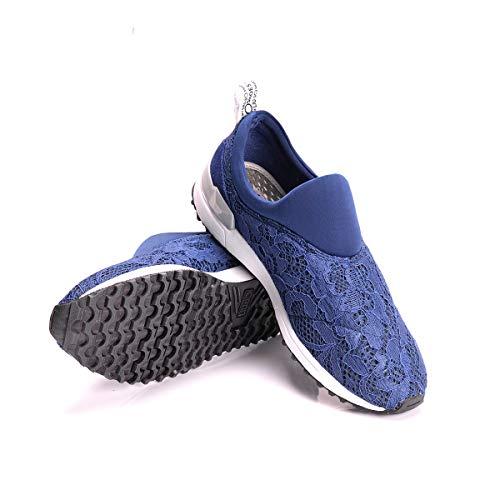 Mesh Running Suede Jo Liu On Pizzo Sneaker Azul Cheri Mujer Slip qBw8nxU0