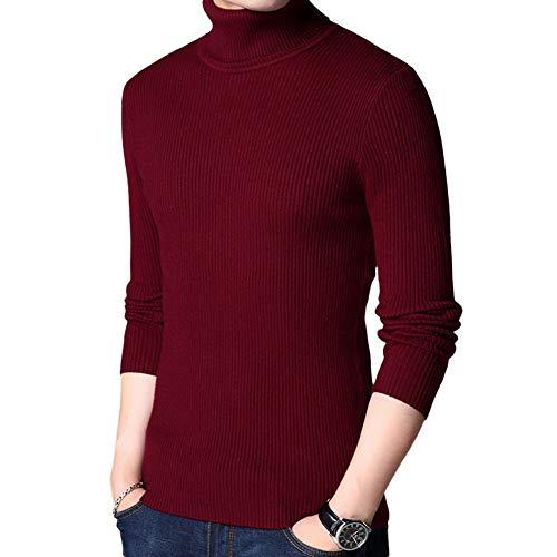 Uni D'automne Col Slim Pull Vin over Allthemen Montant Longues D'hiver Sweat Tricot Homme Manches Sweater Rouge Laine Fit pull 1qwOPtx