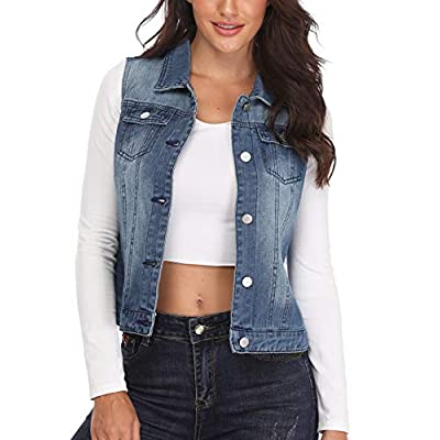 MISS MOLY Women's Denim Vest Distressed Cropped Washed Classic Jean Jackets W Chest Flap Pockets at Women's Coats Shop