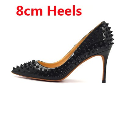 Shallow Women High High Shoes Thin Fashion VIVIOO Black 8cm Shoes Party Rivets Heels Pointed Heels Toe Studs Lady Spike Party Classical 4SEqSxAvnw