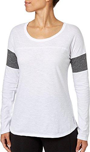 ポルノヘッジ飽和するリーボック トップス シャツ Reebok Women's Varsity Long Sleeve Shirt PureWhite [並行輸入品]