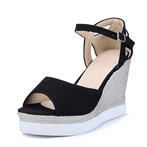 AllhqFashion Women's Imitated Suede Solid Buckle Open Toe High Heels Sandals Black