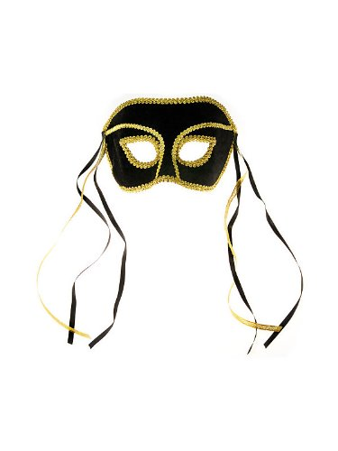 Venetian Black Velvet Mardi Gras Mask - Illegal Alien Mask