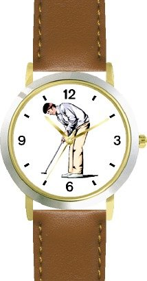 Tiger Woods Ladies Watch (Golfer Making a Putt - Golf Theme - WATCHBUDDY DELUXE TWO-TONE THEME WATCH - Arabic Numbers - Brown Leather Strap-Size-Large ( Men's Size or Jumbo Women's Size ))