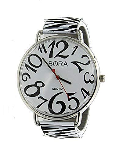 Women's Super Larger Zebra Pattern Easy to Read Stretch Band Watch-Silver Tone (Watch Zebra)