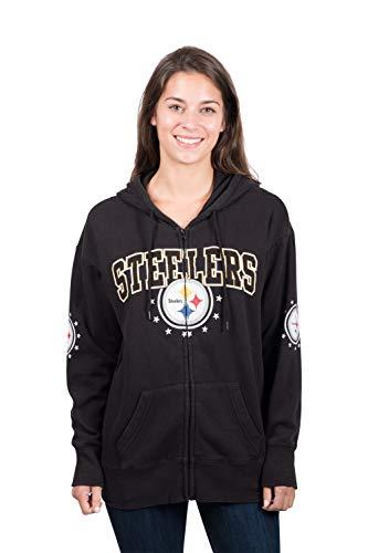 ers Women's Full Zip Fleece Hoodie Sweatshirt Banner Jacket, Large, Black ()
