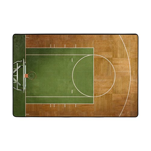 My Daily Basketball Court Area Rug 4 x 6 Feet, Living Room Bedroom Kitchen Decorative Unique Lightweight Printed Rugs Carpet